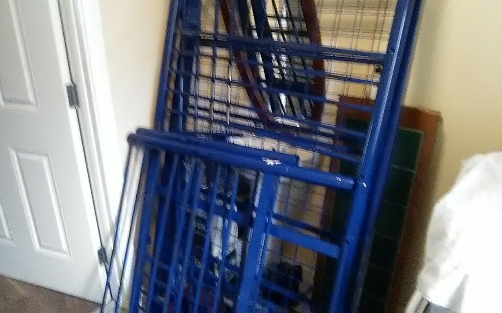 Blue metal frame bunk beds