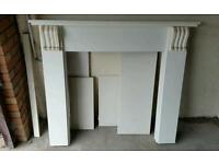 White fire surround with matching marble backing and base
