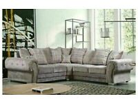 luxury furniture-VERONA CHESTERFIELD GREY PLUSH FABRIC CORNER SOFA SUITE OR 3+2 SETTEE