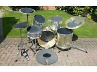 Gold sparkle drum kit with extras