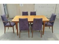 Mcintosh table and 6 g plan chairs vintage