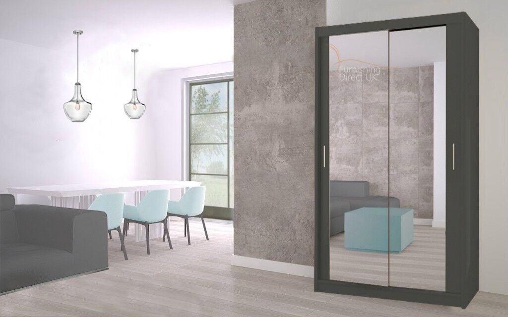 Lux 120 2 Door Sliding Wardrobe in white full Mirror wenge black grey