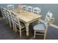 Chunky Legged 7ft Rustic Table and 8 chair Set