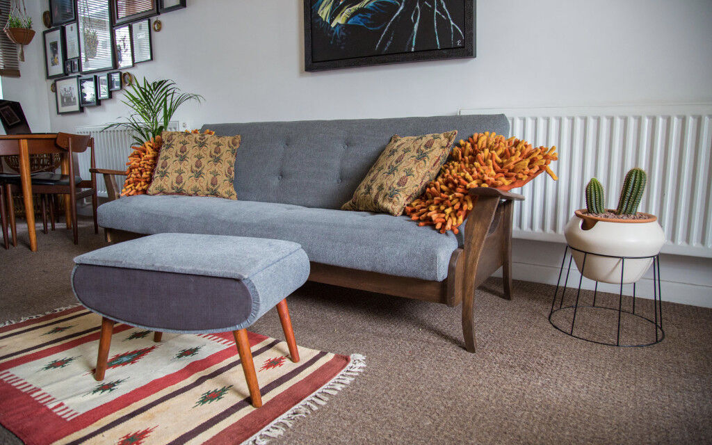 Danish Teak Grey Sofa Bed Couch With Matching Footstool Vintage Retro Mid Century Modern