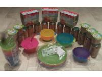Baby food and plates and cups