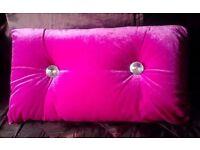 Boudoir Chic Luxury Glamour Fuschia Pink Velour Velvet Diamante Button Back Cushion 50cmx30cm