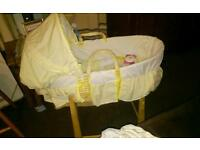 Winnie the Pooh Moses Basket and Rocking Stand Never been used