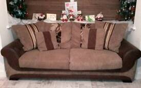 3 seater sofa, swivel chair and pouffe