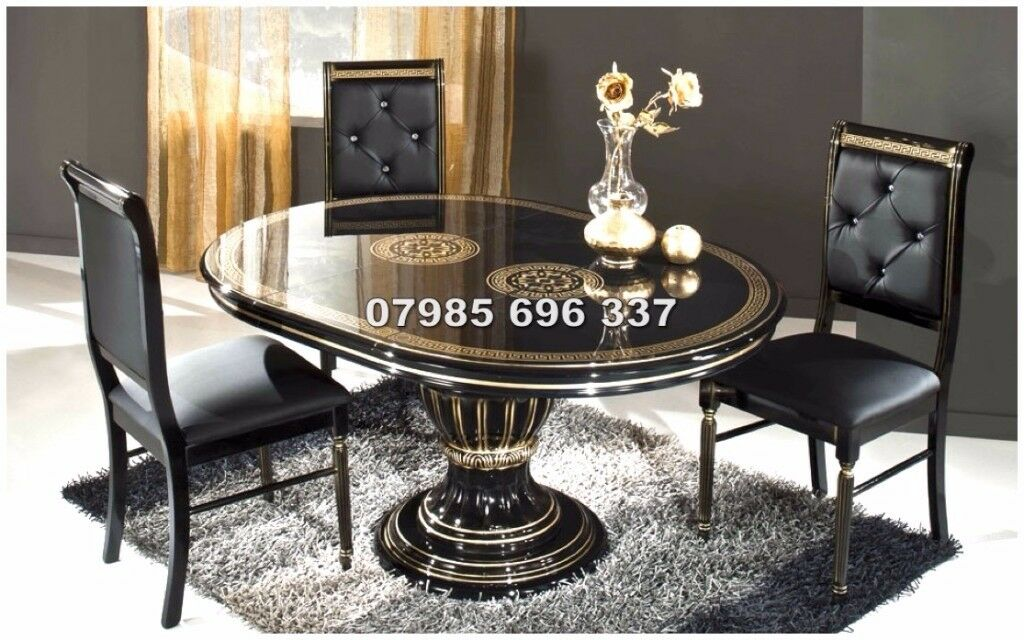 Versace Style Rossella Italian Dining Table And Chairs, Hand Crafted U0026 High  Gloss Finish