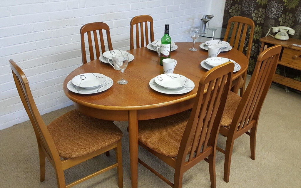 Charming Vintage 70 S Danish Style Jentique Extending Dining Table 6 Chairs