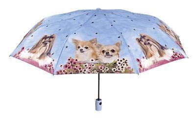 Cane Blu Mini ombrello Automatico Perletti da ragazza donna ,antivento