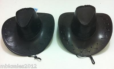96pc Faux Leather Cowboy Hats Zig Zag Western Hat Bulk Wholesale Lot Black Brown - Bulk Cowboy Hats
