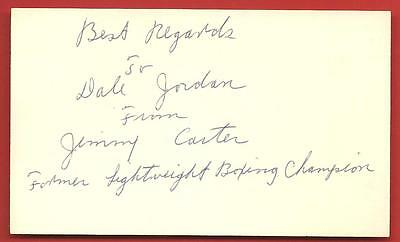 JIMMY  CARTER  L. W.  CHAMPION  ORIGINAL  HAND  SIGNED  AUTOGRAPHED  INDEX  CARD