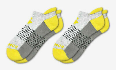 2-Pack Bombas Men's Ankle Socks ~Yellow-Gray-Dark~ Honeycomb Size Medium NWT