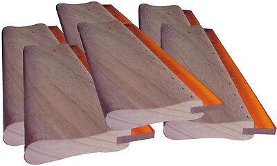 6 Pcs 13 33cm Silk Screen Printing Squeegee Wood Ink Scraper Scratch Board