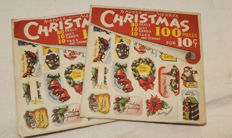 Happee Merree Christmas Seals, Cards, & Tags, 100 Piece, Lot of 2
