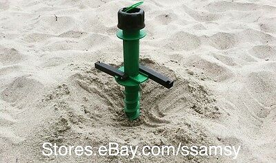 Beach Umbrella Holder Anchor Spiral Stake for Sand, Shade, Fishing Pole NEW