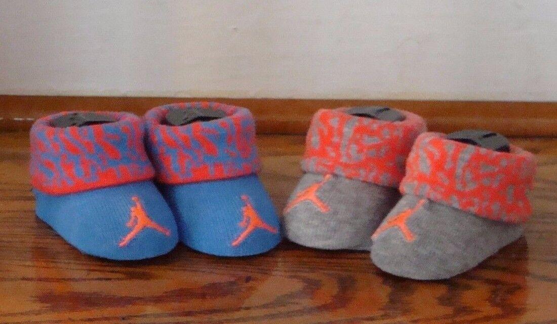 NIKE AIR JORDAN Baby Infant Crib Shoes Booties Socks 0-6M BLUE GRAY ORANGE