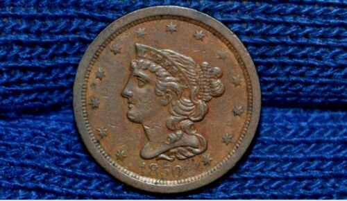 1850 HALF CENT ** XF++ / AU ** CHOICE BROWN ** Take 5% Off Right Now !