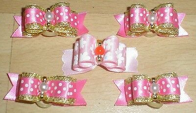 Pretty Pink Polka Flower Show Type Dog Grooming Bows Bead Centre