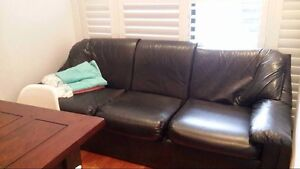 Black Faux Leather Sofa (Rush Sale) Campsie Canterbury Area Preview