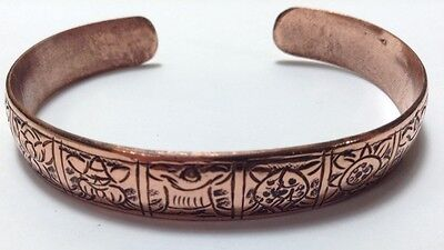 Tibetan Ashtamangala 8 Auspicious Symbols Copper Cuff Bracelet From the Himalaya