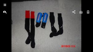 Youth soccer shin pads and socks