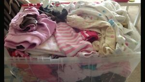 Box of baby girl clothing and snow suit 0-3 month