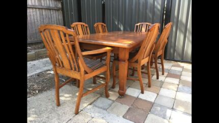 Antique Hardwood Dining Set And Sideboard