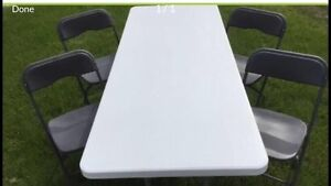 Plastic tables and chairs for rent