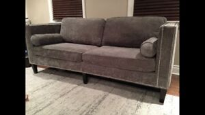 Beautiful Grey chenille modern couch / sofa