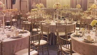 """14 Beautiful Champagne Lace Overlay Tablecloth Cover - fits 60"""" inch round table"""