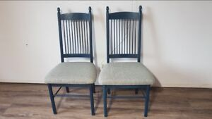 Two Poitras dining chairs. Solid Wood. Made in Quebec.