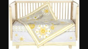 Crib Bedding - Grey/Yellow Birds & Flowers