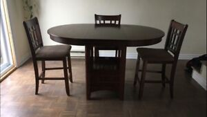 Dining room pub style table and 3 chairs