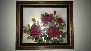 Painted roses picture with glass cover and wood framing