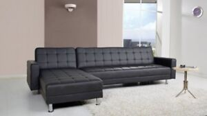 Sofa sectionel NEUF corner couch divan reversible cuir tissu