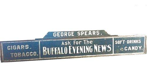 1900 Buffalo Rochester NY Sign NEWS Soda Tobacco Cigar ANTIQUE Art Advertising