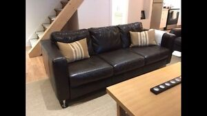 ItalSofa 3 seater brown full leather couch