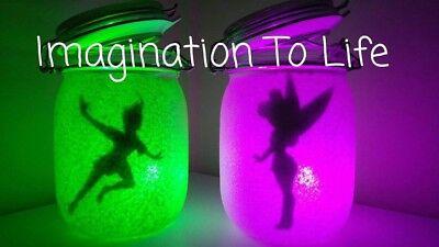 Personalised Disney Peter Pan Tinkerbell Night Light Jar Room or Nursery