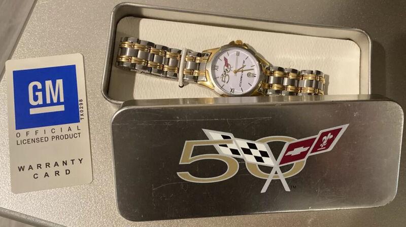 Corvette 50th Anniversary MENS Watch 2003 C5 New Gold & Silver color