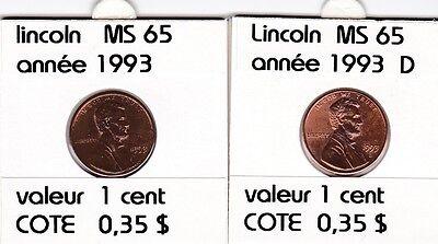 2 pieces 1 cent  lincoln 1993   D/P   voir description