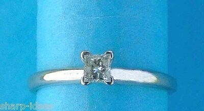Ladies Princess Diamond Solitaire Ring  - 1/5 carat - 14k White
