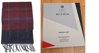 M&S Best Of British Reversible Double Face Navy Red Check lambswool Boxed
