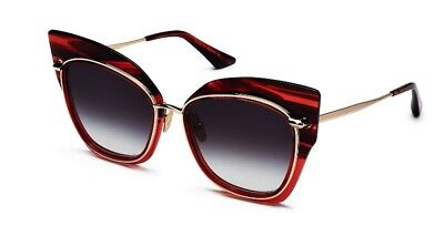 DITA STORMY 22033-D Red Black Gold Crystal Swirl 18K Sunglasses Grey Gradient