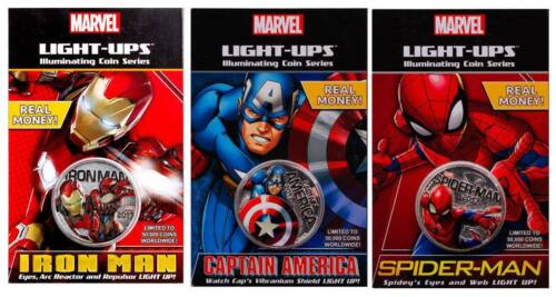 2017 Marvel Light-Up Coins - Set of 3 - Spiderman/Captain America/Iron Man Fiji