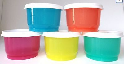 Tupperware Snack Cups Set 5 With Seals New On The Go Multi Colors Sugar Seals - On The Go Snacks