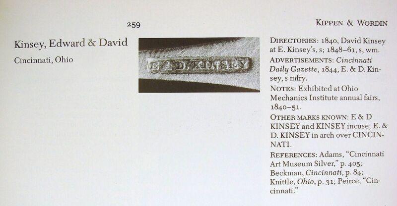 Early American Coin Silver  Spoon with Maker's Mark E&D Kinsey Cincinnati Ohi