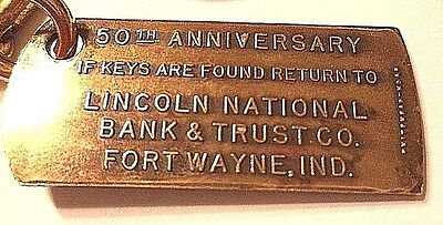 Key Fob Lincoln National Bank And Trust  Fort Wayne  Indiana  1905 1955 Vintage