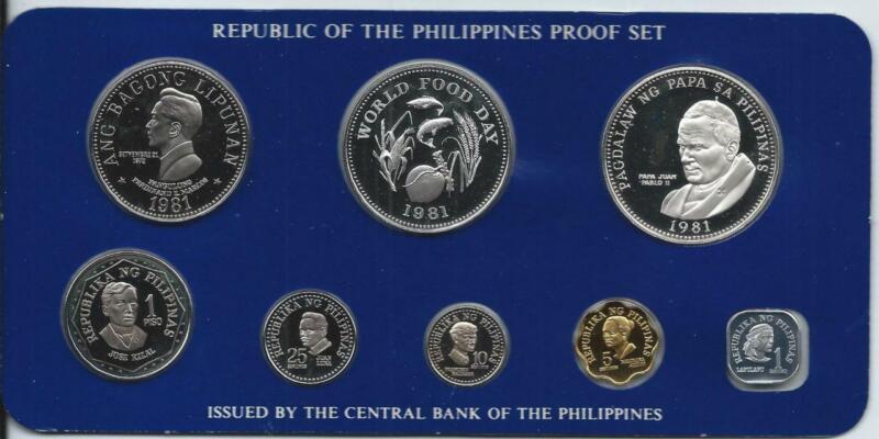 PHILIPPINES - 1981FM 8pc 1s-50 Piso - Pope John Paul II Papal Visit PROOF SET